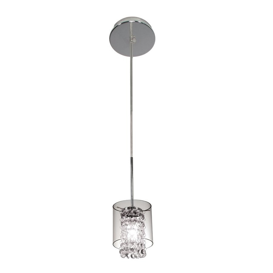 BAZZ Glam 5-in Chrome Crystal Mini Clear Glass Cylinder Pendant