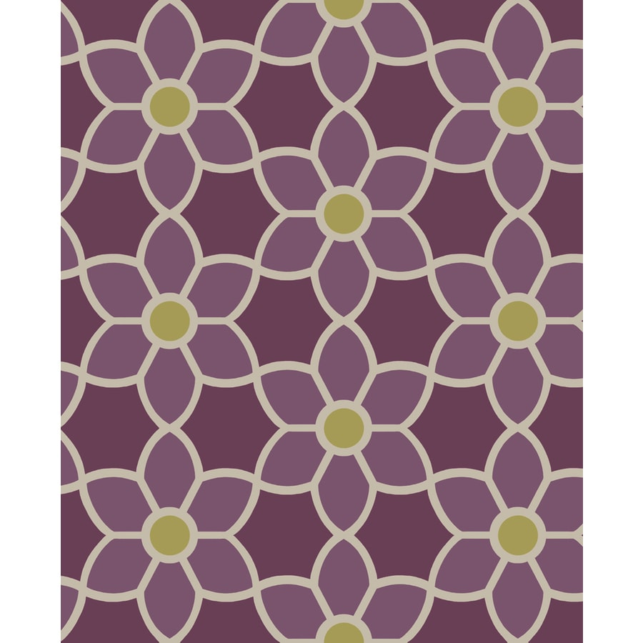 Brewster Wallcovering Purple Paper Floral Wallpaper