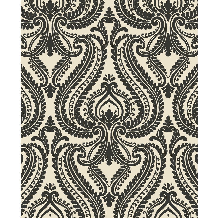 Brewster Wallcovering Black Paper Damask Wallpaper