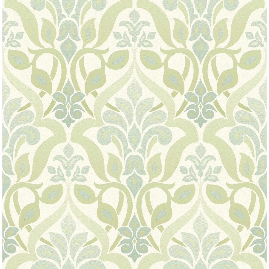 Brewster Wallcovering Green Tea Paper Damask Wallpaper