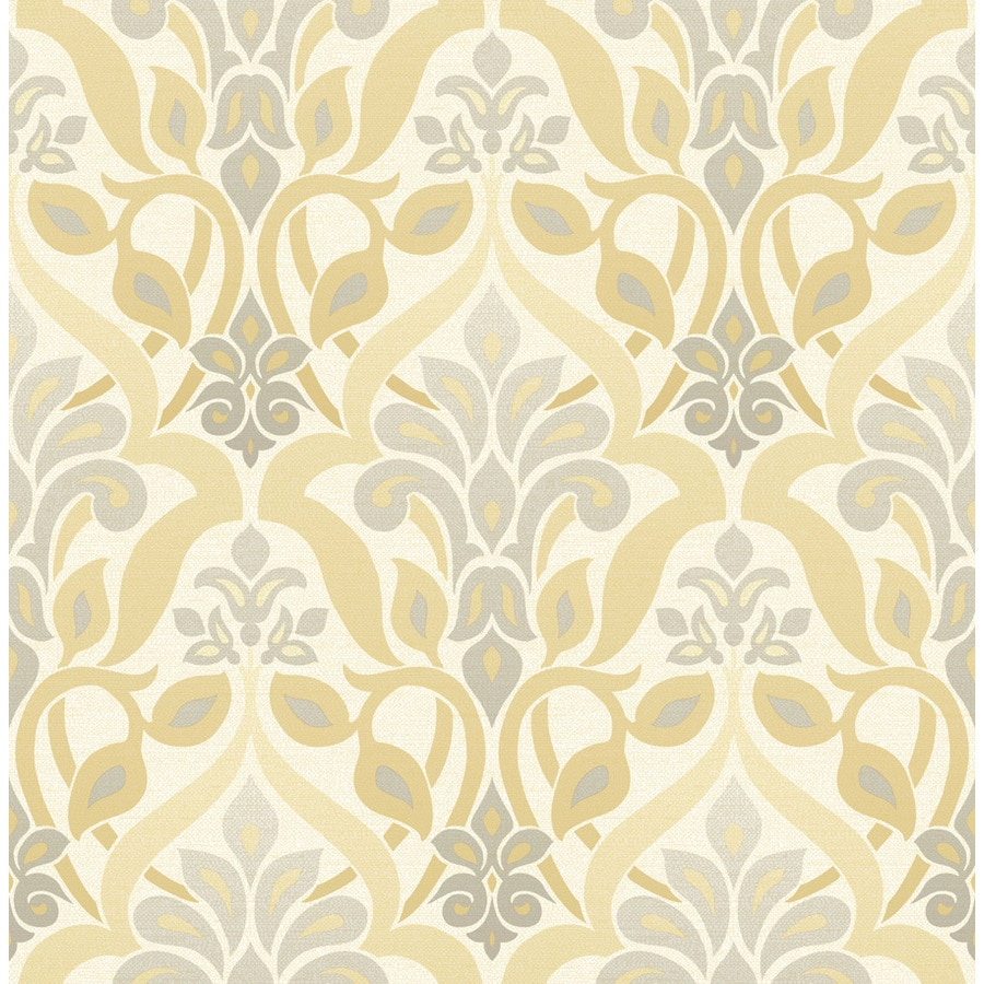 Brewster Wallcovering Yellow Non-Woven Damask Wallpaper