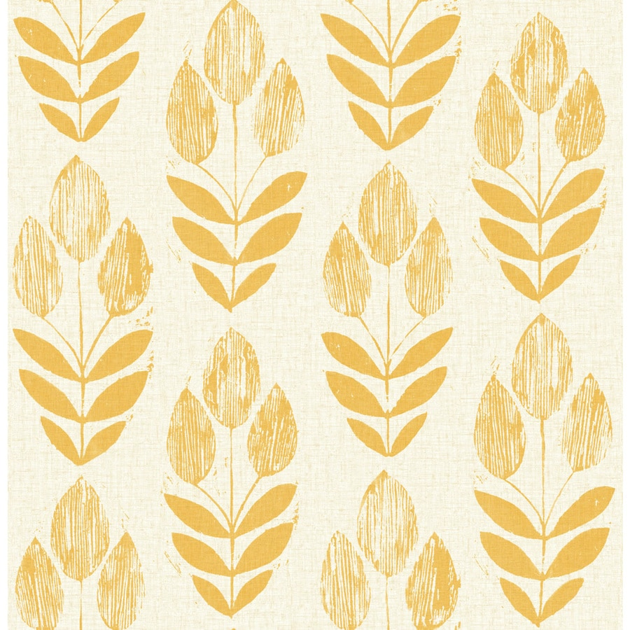 Brewster Wallcovering Yellow Paper Floral Wallpaper