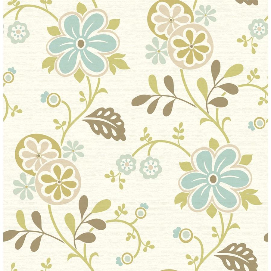 Brewster Wallcovering Light Blue Non-Woven Floral Wallpaper