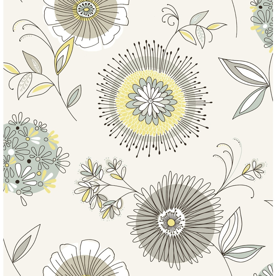 Brewster Wallcovering Grey Non-Woven Floral Wallpaper