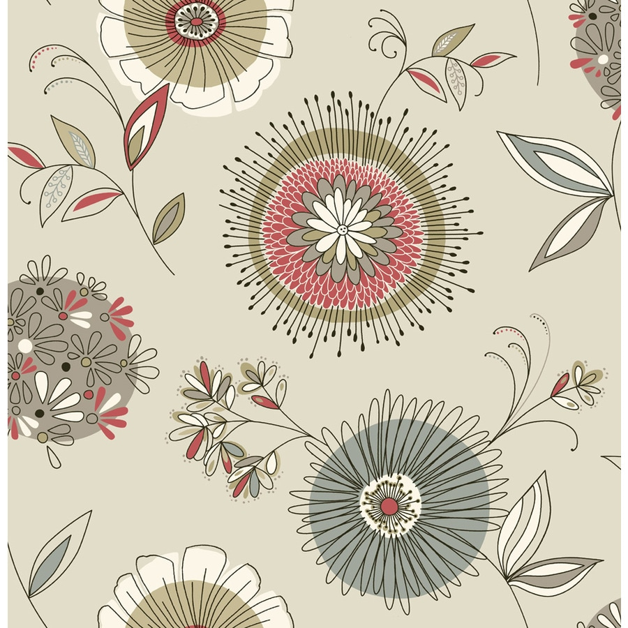 Brewster Wallcovering Taupe Paper Floral Wallpaper