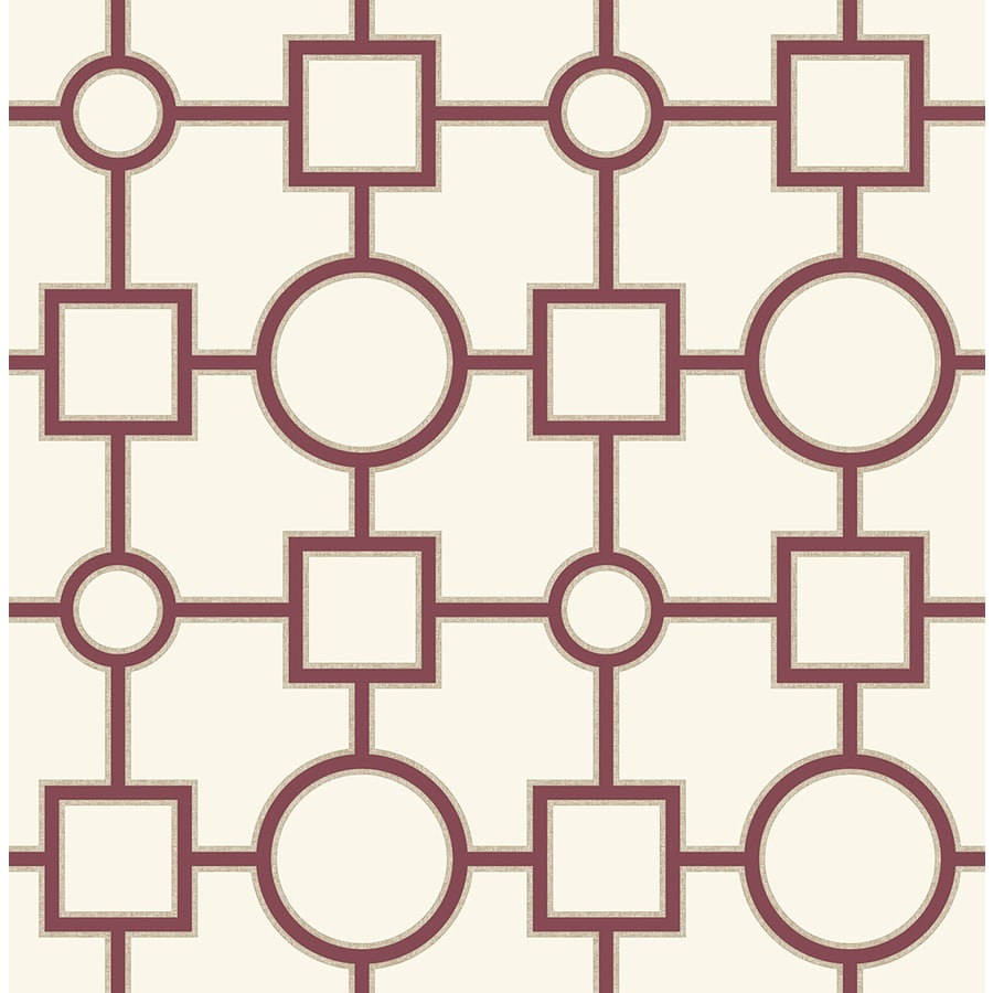 Brewster Wallcovering Burgundy Paper Geometric Wallpaper