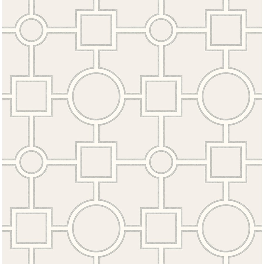 Brewster Wallcovering Light Grey Paper Geometric Wallpaper