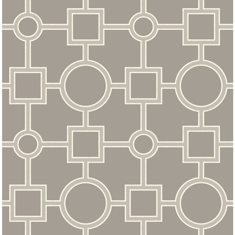 Brewster Wallcovering Symetrie 56-sq ft Taupe Non-Woven Geometric  Wallpaper