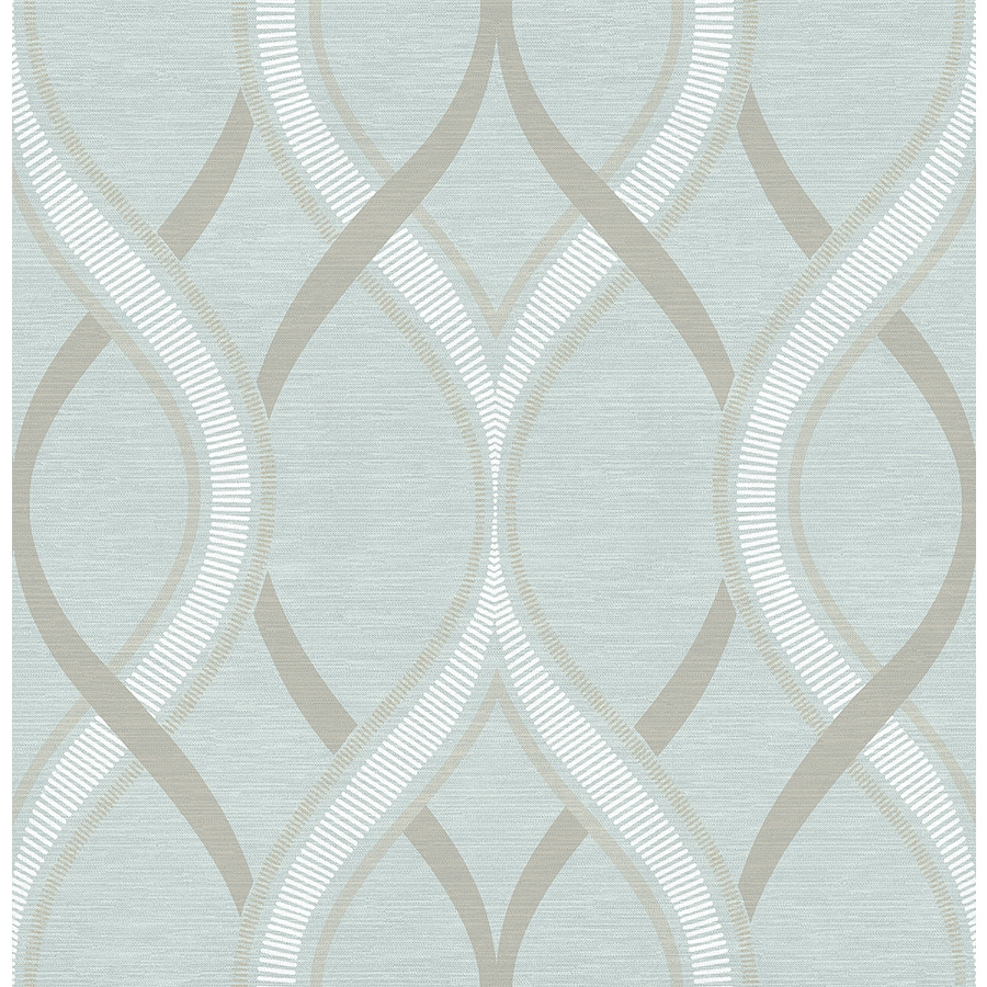 Brewster Wallcovering Symetrie 56-sq ft Turquoise Non-Woven Geometric  Wallpaper