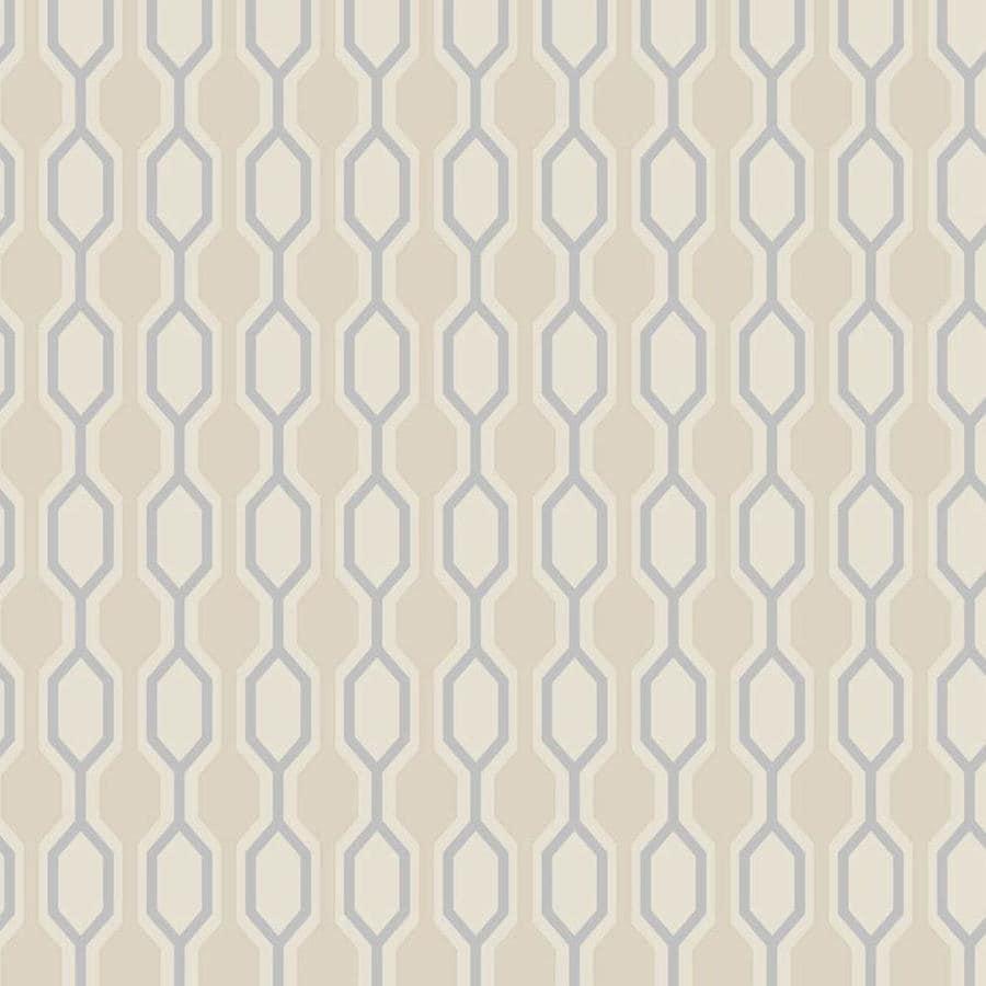 Graham & Brown Kelly Hoppen Beige Vinyl Textured Geometric Wallpaper