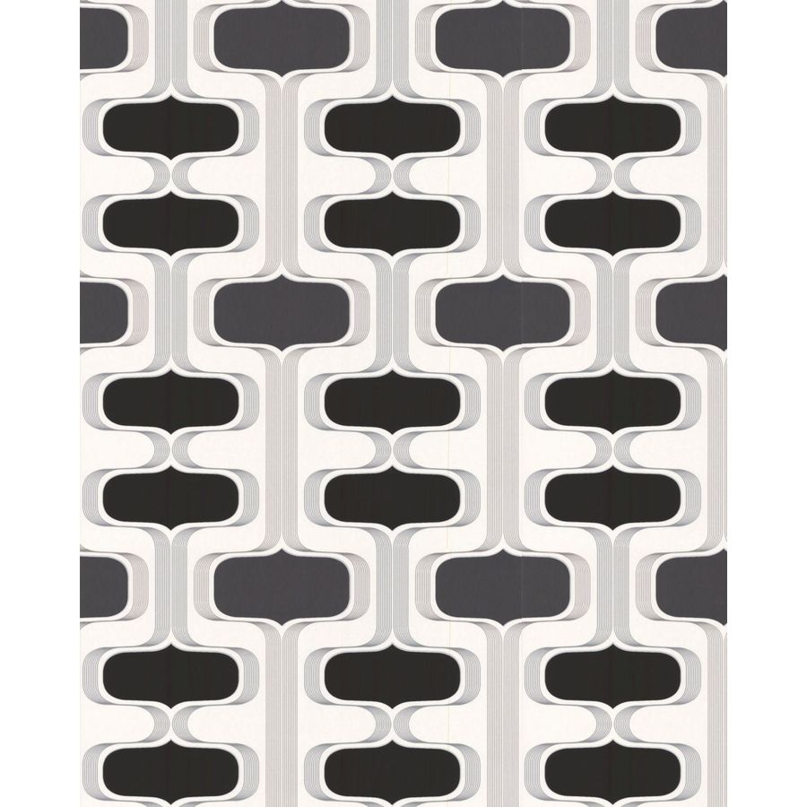 Contour Black Paper Geometric Wallpaper