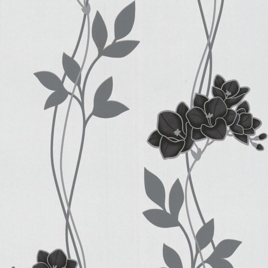 Graham & Brown Serenity Black Vinyl Textured Floral Wallpaper