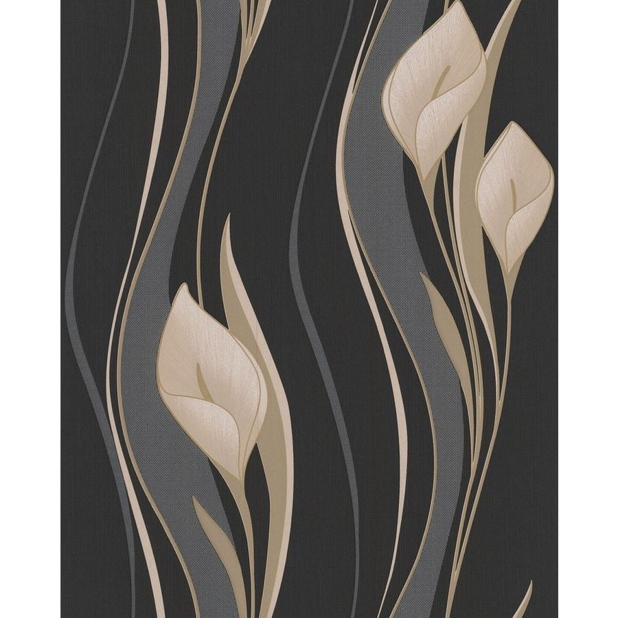Superfresco Easy Black Paper Floral Stripe Wallpaper