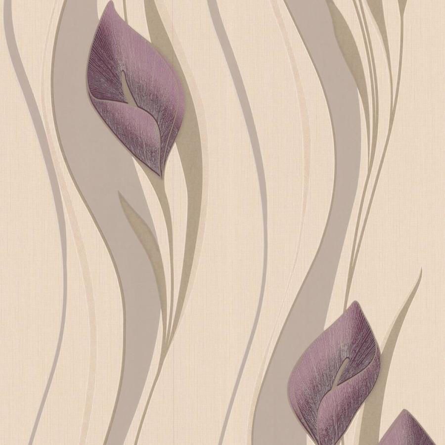 Graham & Brown Serenity Plum Vinyl Textured Floral Wallpaper