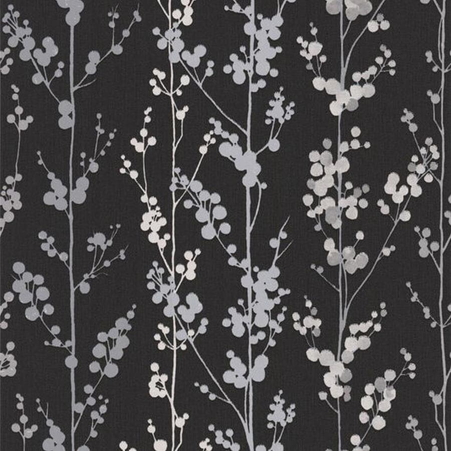 Superfresco Easy Serenity Black Vinyl Textured Ivy/Vines Wallpaper
