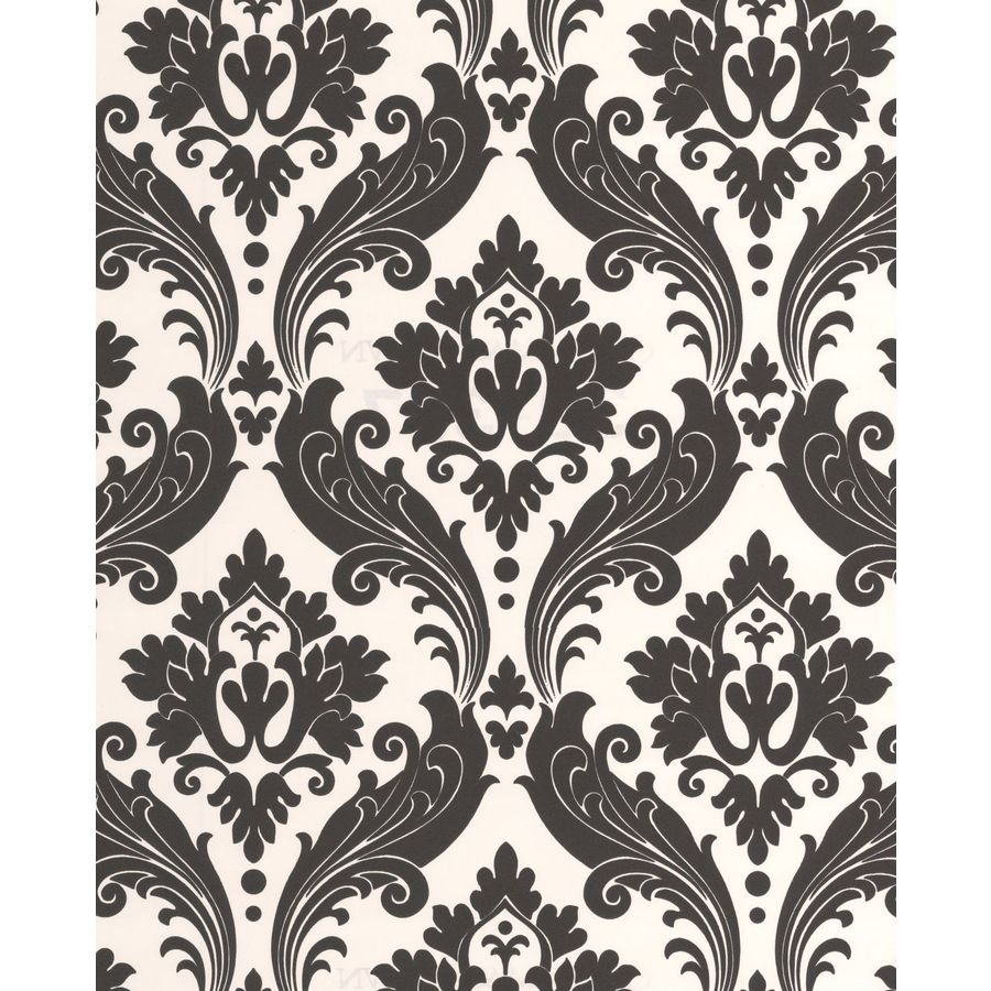 Graham & Brown Black/White Paper Damask Wallpaper