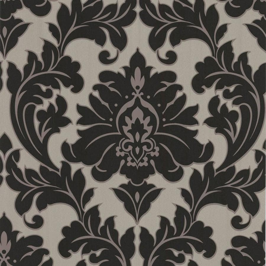 Graham & Brown Majestic Black/Gold Vinyl Textured Damask Wallpaper