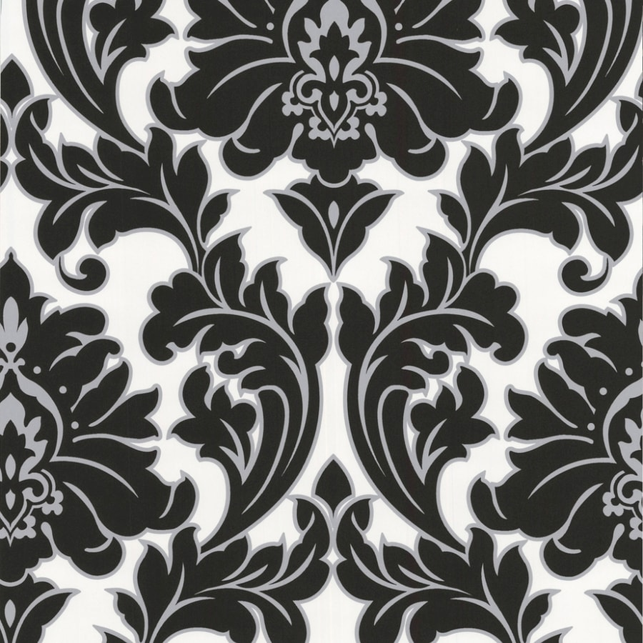 Graham Brown Majestic 56 Sq Ft Black White Silver Vinyl Textured Damask Wallpaper