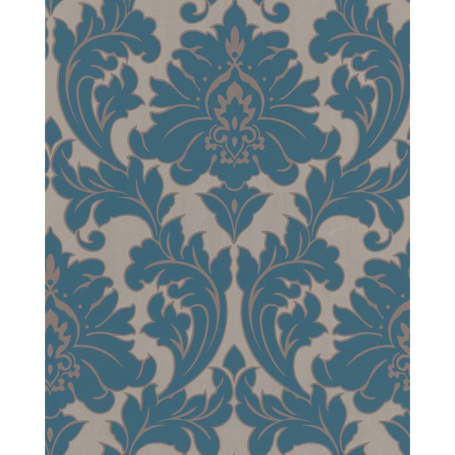 Graham & Brown Majestic Blue Vinyl Textured Damask Wallpaper