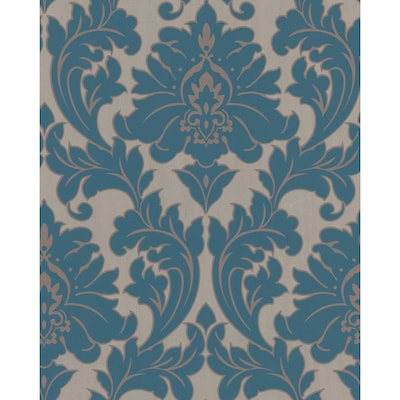 Majestic 56 Sq Ft Blue Vinyl Textured Damask Wallpaper