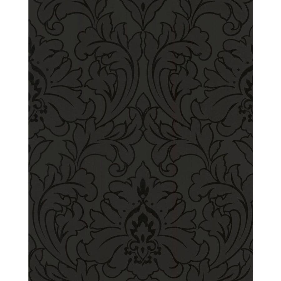 Graham & Brown Majestic Black Vinyl Textured Damask Wallpaper