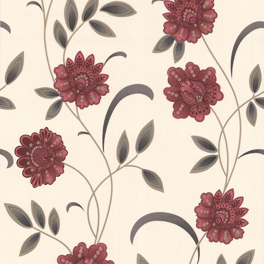 Graham & Brown Red Paper Floral Wallpaper