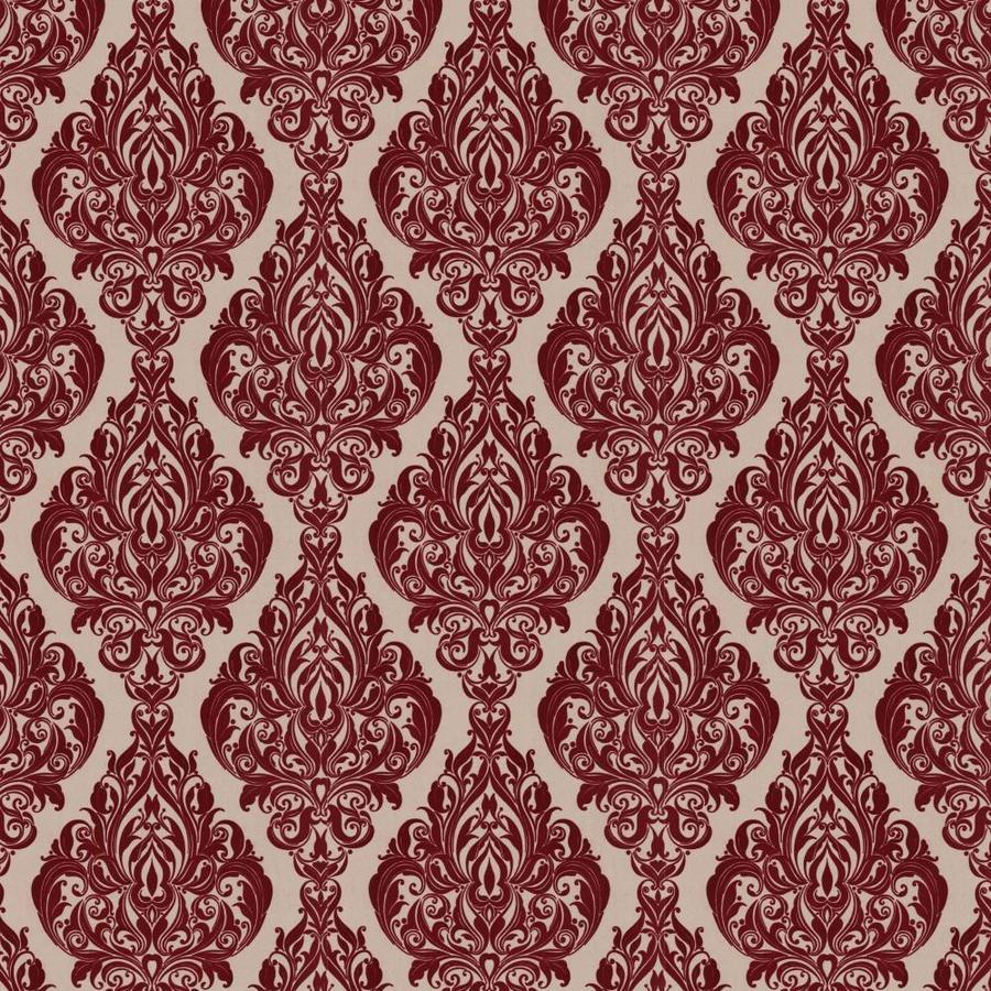 Graham & Brown Laurence Llewelyn-Bowen Red Flock Textured Damask Wallpaper