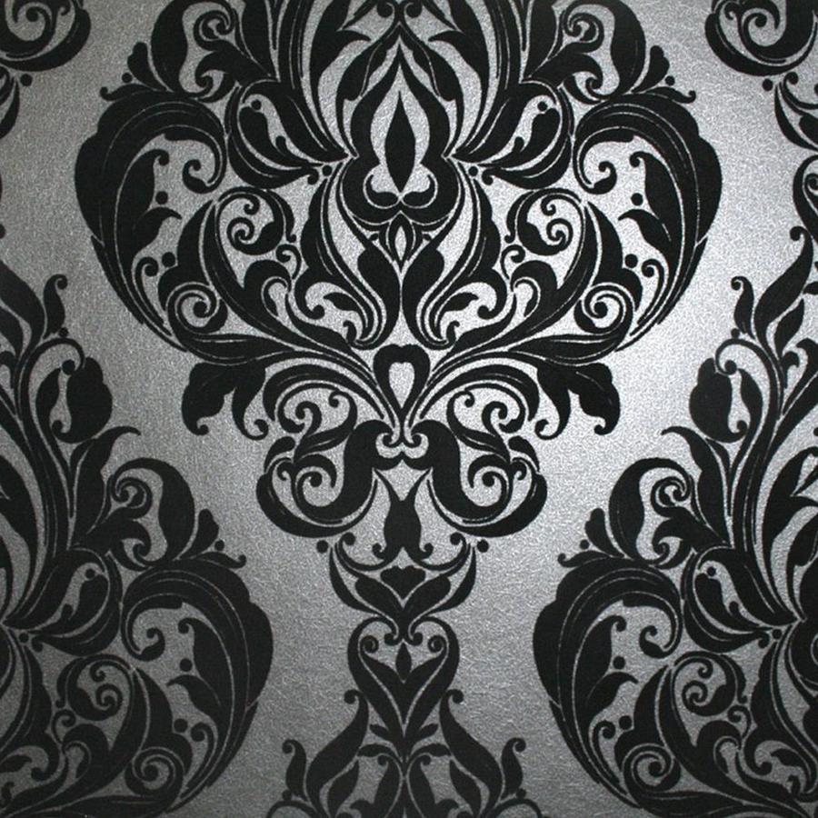 Graham & Brown Laurence Llewelyn-Bowen 56-sq ft Black Flock Textured Damask Wallpaper