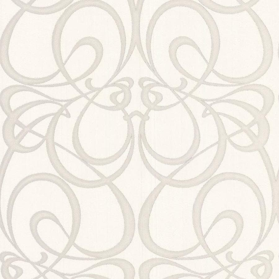 Graham & Brown Art Decor White/Silver Vinyl Textured Scroll Wallpaper