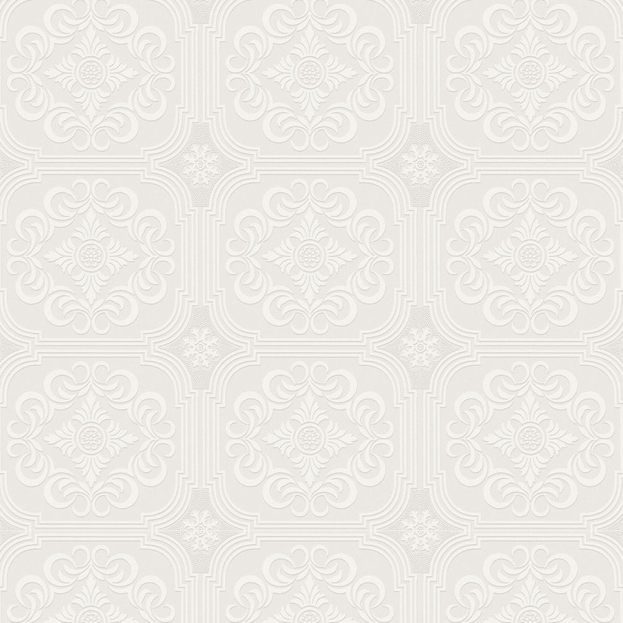 Allen Roth White Paper Paintable Wallpaper