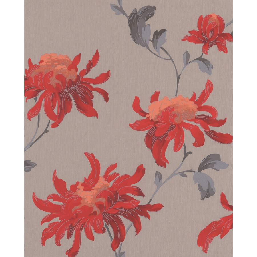 Shop Graham & Brown Red/Grey Paper Floral Wallpaper At