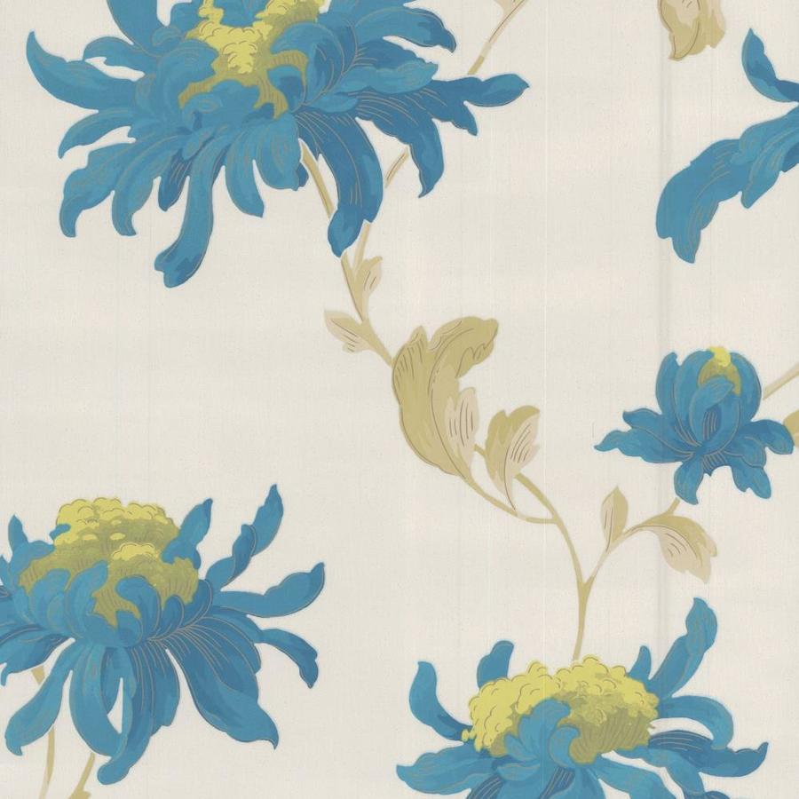 Graham & Brown Julien Macdonald Blue/White Vinyl Textured Floral Wallpaper