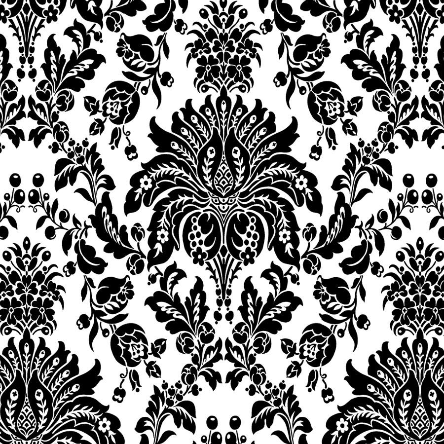 allen + roth Black Paper Damask Wallpaper