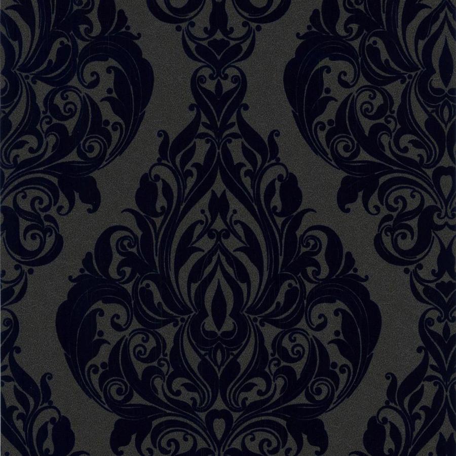 Graham & Brown Laurence Llewelyn-Bowen 56-sq ft Rhythm Blue Flock Textured Damask Wallpaper