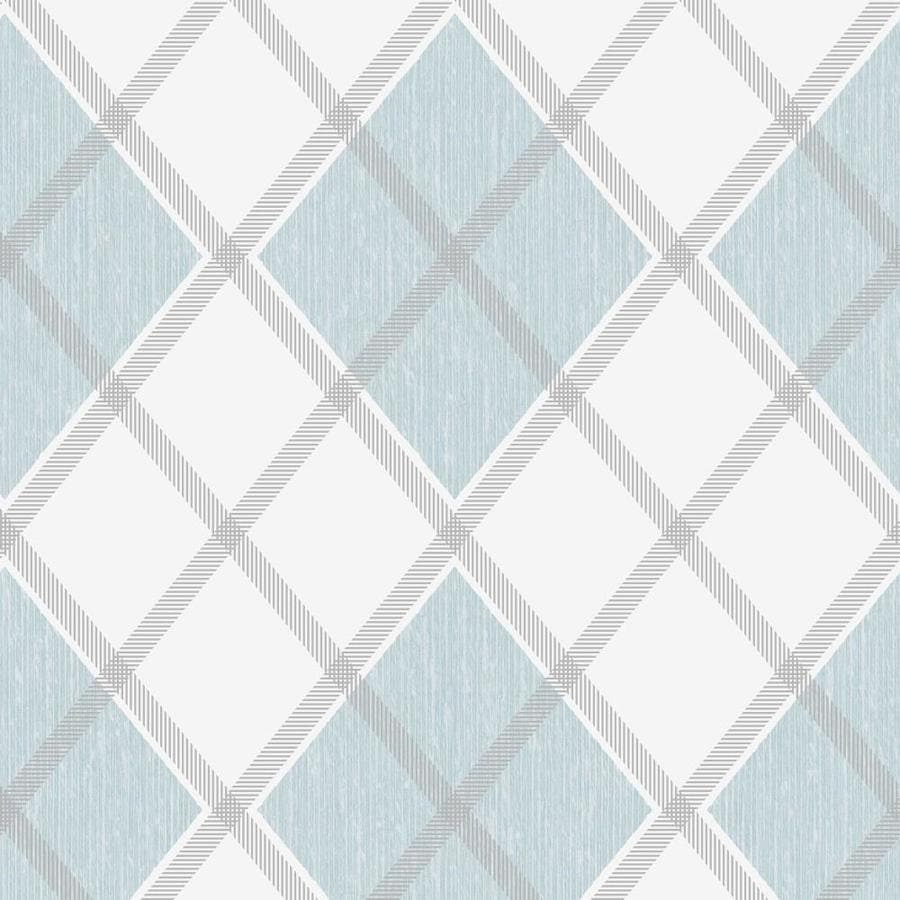 Graham & Brown Fabric Sky Blue Vinyl Textured Plaid Wallpaper