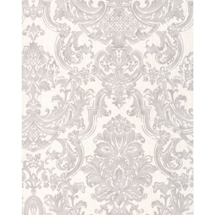 Graham & Brown Verona Silver Vinyl Textured Damask Wallpaper