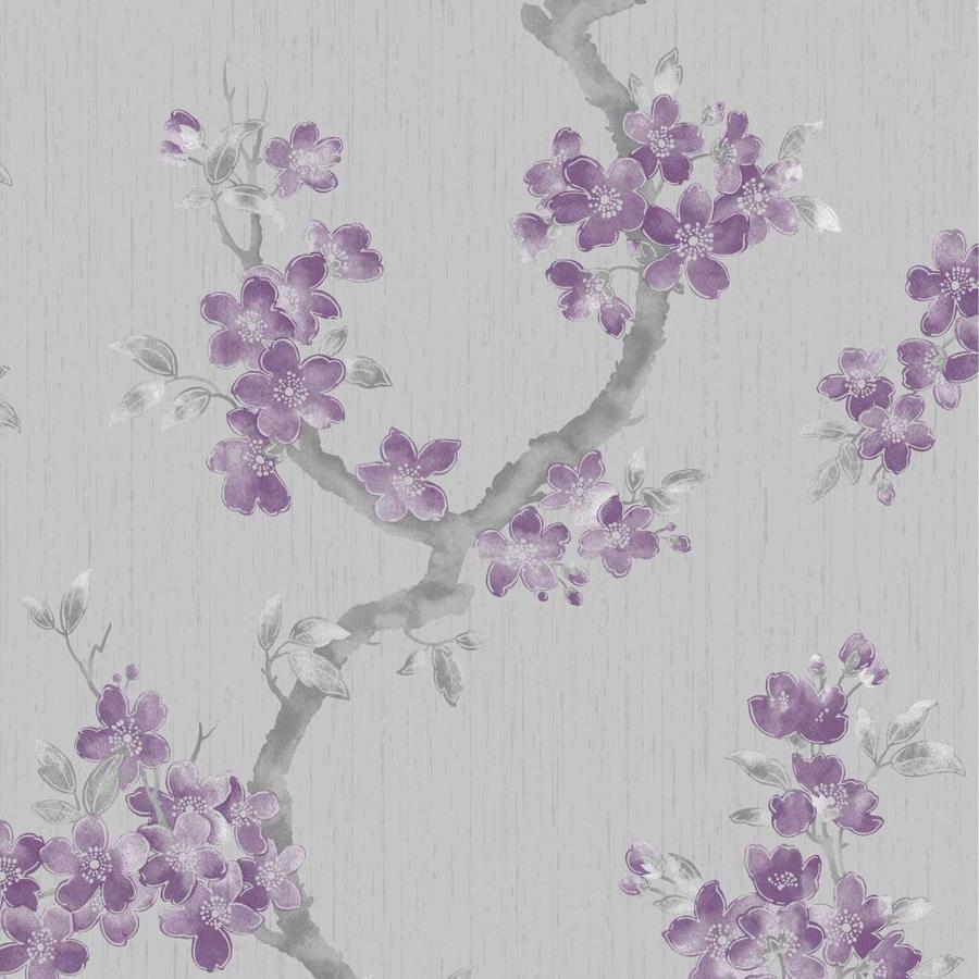 Graham & Brown Verona Purple Vinyl Textured Floral Wallpaper
