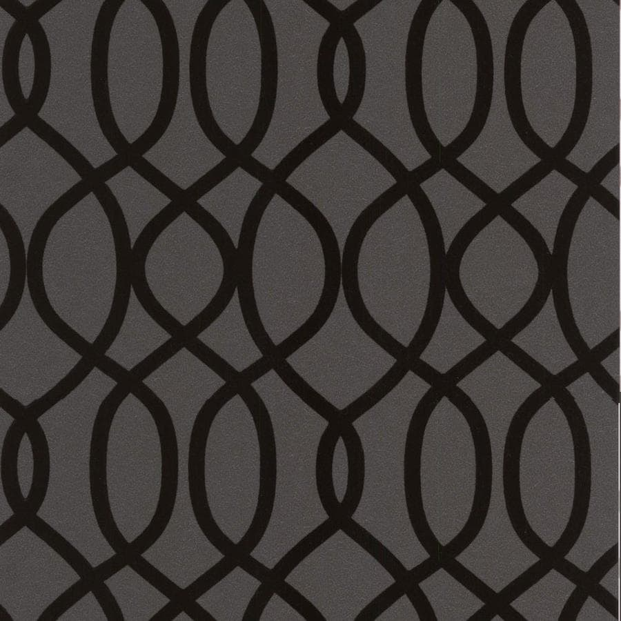 Graham & Brown Kelly Hoppen Noir Flock Textured Geometric Wallpaper