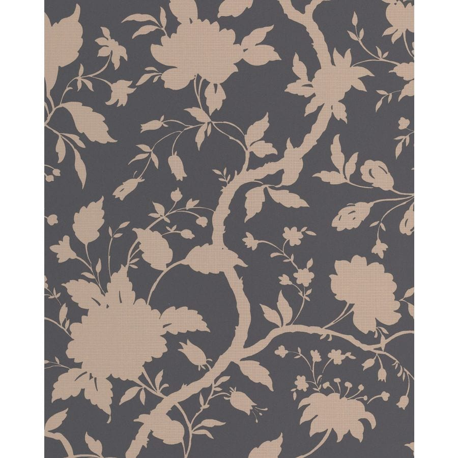 Graham & Brown Charcoal/Gold Paper Floral Wallpaper