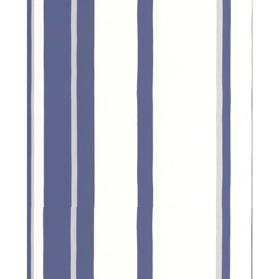 Graham & Brown White/Prussian Blue Paper Stripes Wallpaper