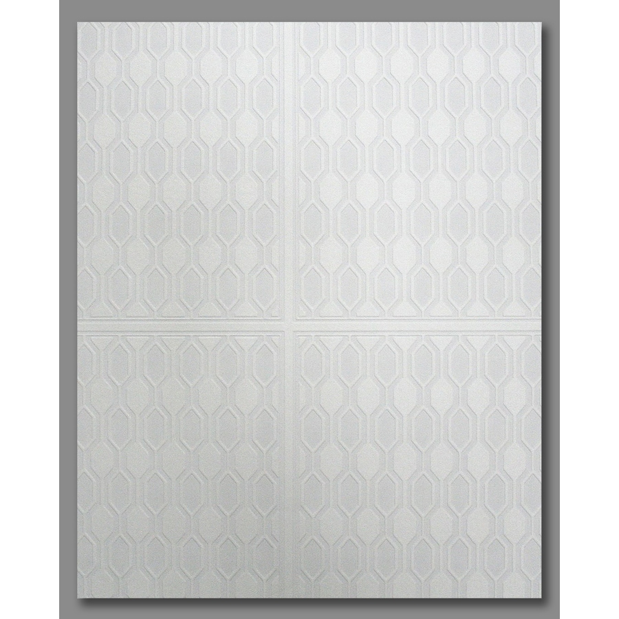 Graham & Brown Eclectic White Vinyl Paintable Textured Geometric Wallpaper