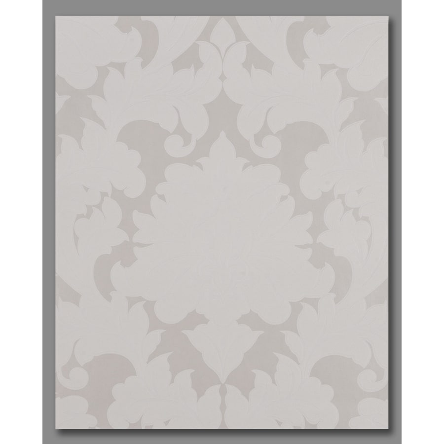 Superfresco Easy Pearl White/Mica Vinyl Textured Damask Wallpaper