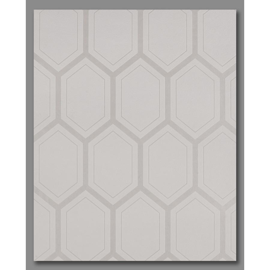 Graham & Brown Pearl White/Mica Vinyl Textured Geometric Wallpaper