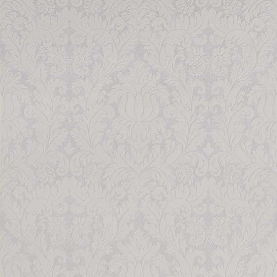 Graham & Brown Pearl White/Mica Vinyl Textured Damask Wallpaper