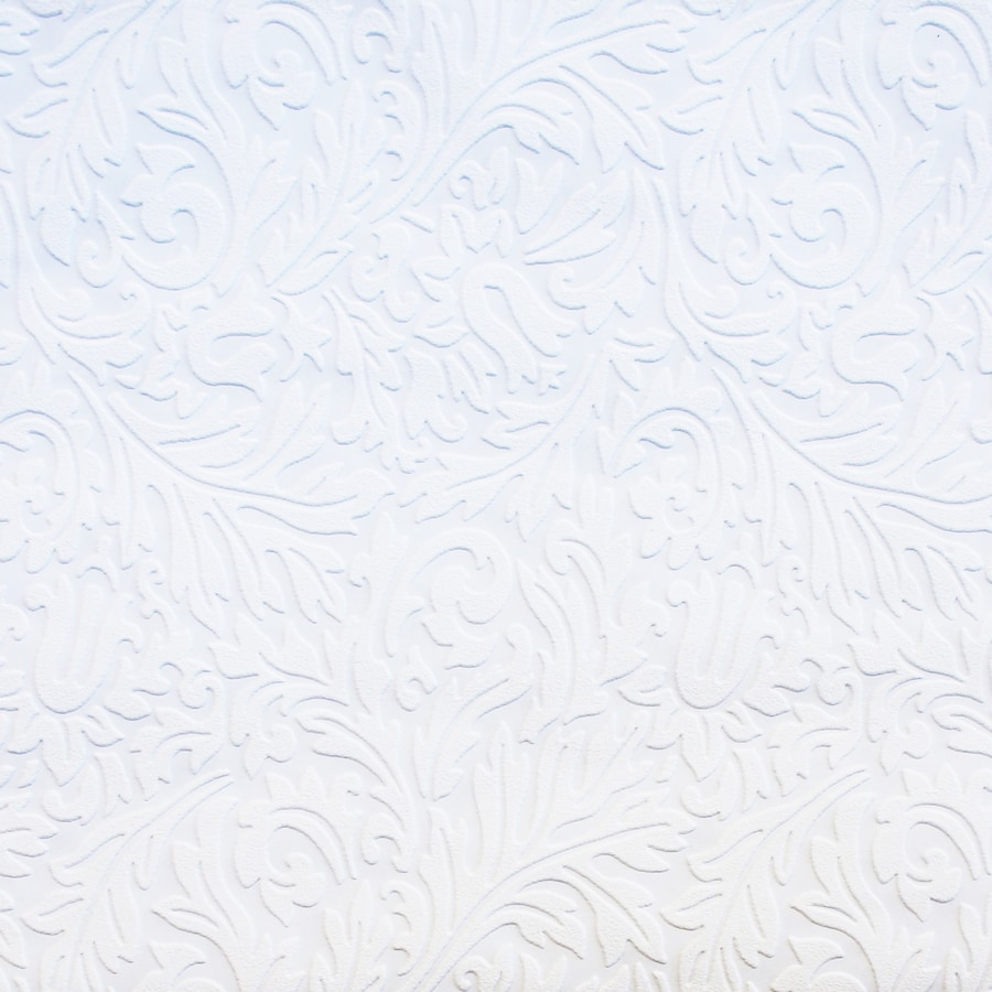 Allen Roth White Vinyl Paintable Damask Wallpaper