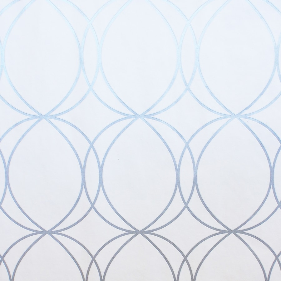 Shop Allen Roth White Silver Vinyl Geometric Wallpaper
