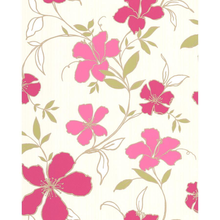 Superfresco Easy Majestic Raspberry/Cream Vinyl Textured Floral Wallpaper