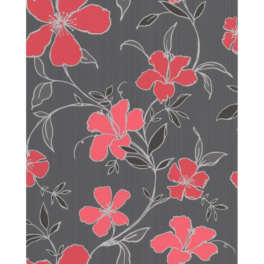Superfresco Easy Black/Red Paper Floral Wallpaper