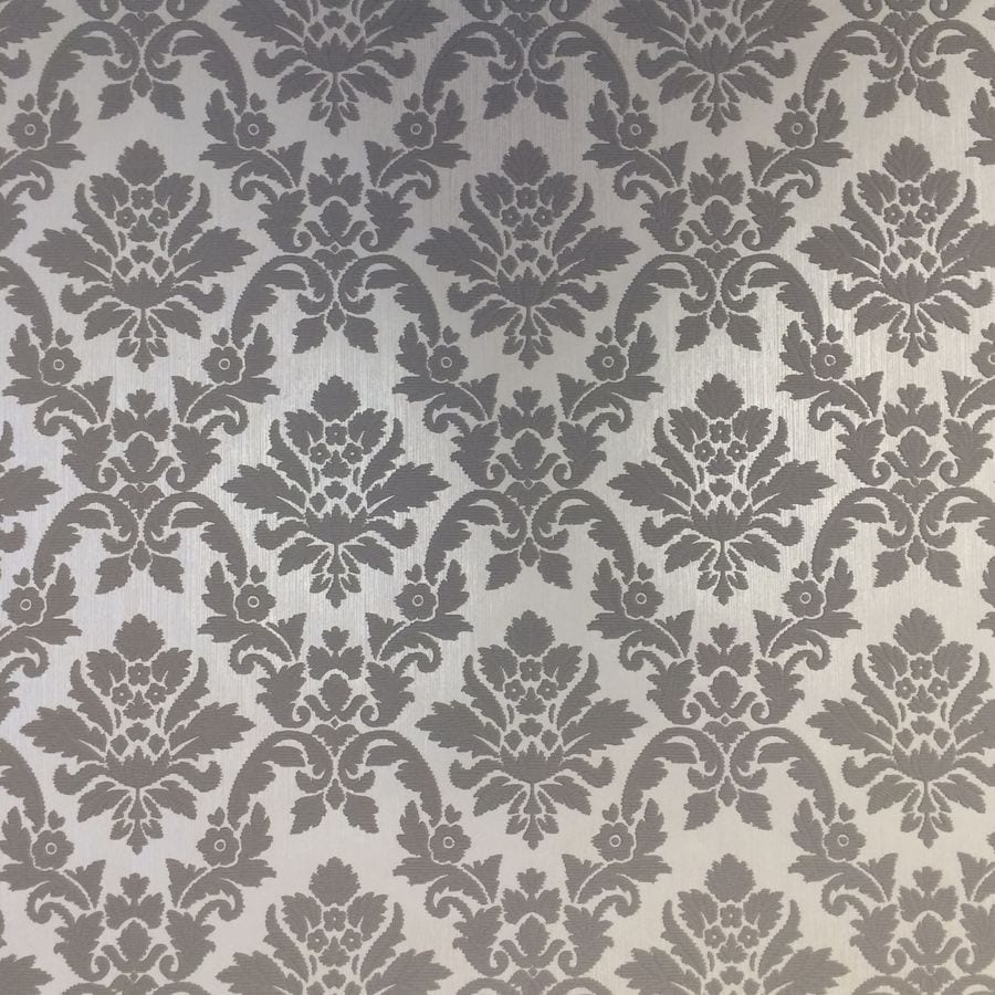 Shop graham brown bohemia grey vinyl textured damask for Gray vinyl wallpaper