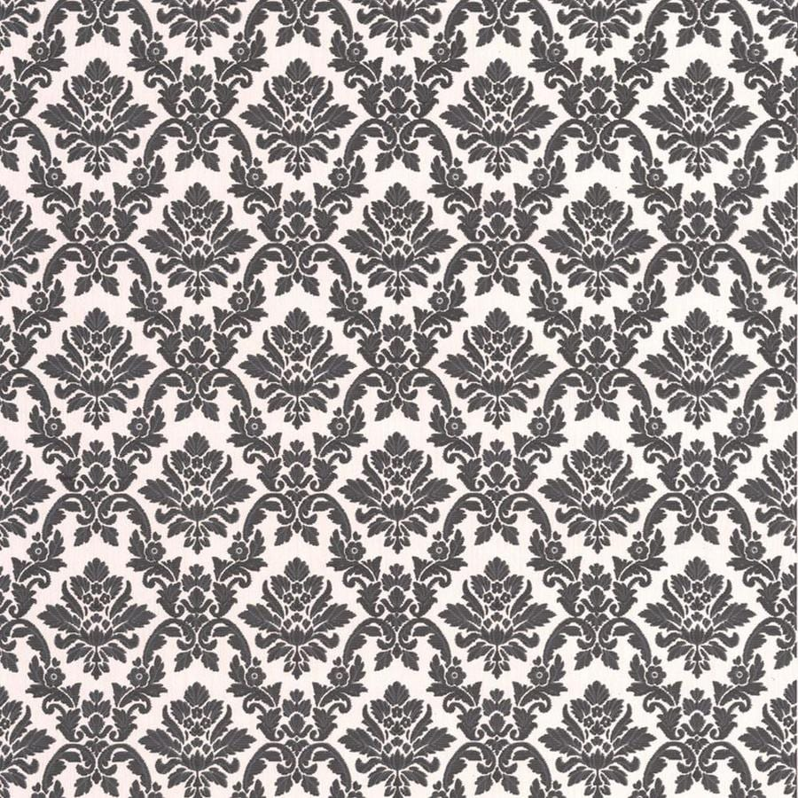 Graham Brown Bohemia 56 Sq Ft Black White Vinyl Textured Damask Wallpaper